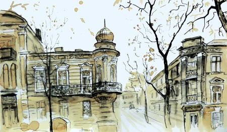 Vista sulla città vecchia. Schizzo urbano. Paesaggio urbano d'autunno. Linea artistica