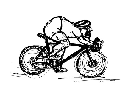 Cyclist sketch. Bicycle rider in motion. Vector illustration Ilustracja