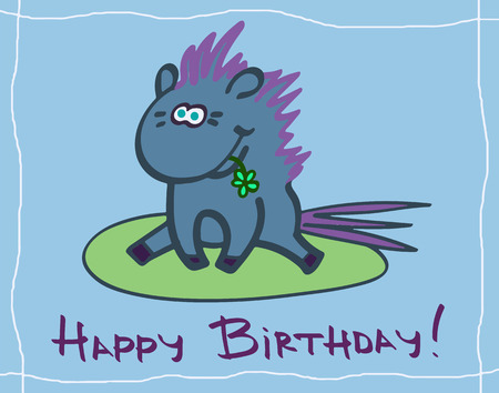 Happy birthday greeting card with a horse character Illustration