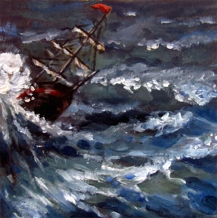 Ship sailing the storming sea. Oil painting. Vector illustration