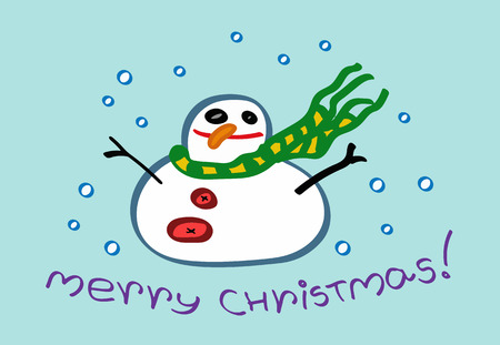 Merry Christmas greeting card with a snowman character