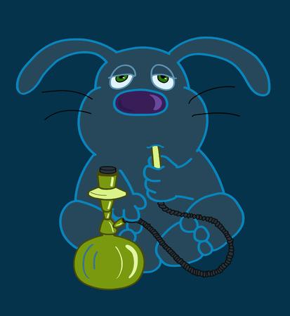 Hare character with a hookah Ilustração