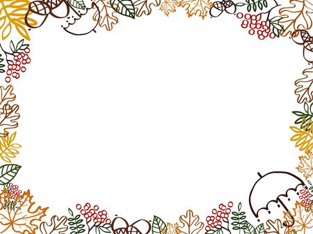Autumn illustration with leaves silhouette elements. Frame template