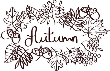Autumn illustration with leaves silhouette elements and lettering