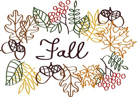 Fall illustration with leaves silhouette elements and lettering