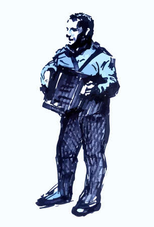 Sketch of a musician. Accordion player. Line drawing