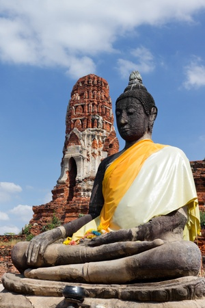 ayutthaya: The Buddha at Wat Mahathat in Ayutthaya Thailand. Stock Photo