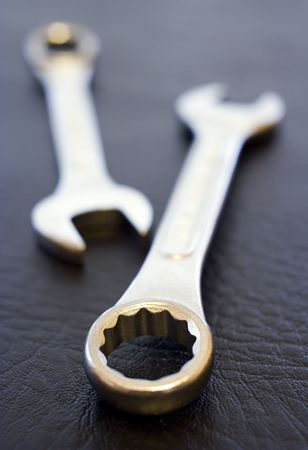 vanadium: Pair of Spanners, shallow depth of field, black background