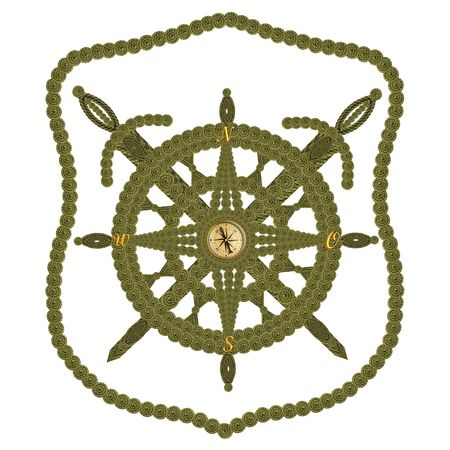 Compass swords and steering wheel