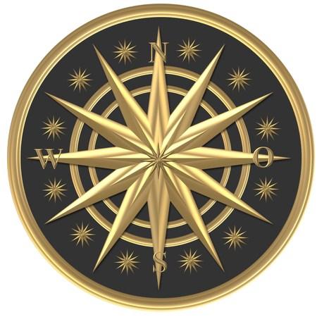 ¿Brújula de oro? Windrose - volante Foto de archivo