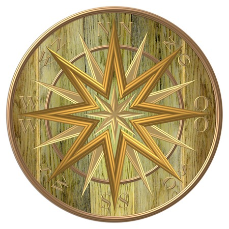Golden compass Windrose - steering wheel