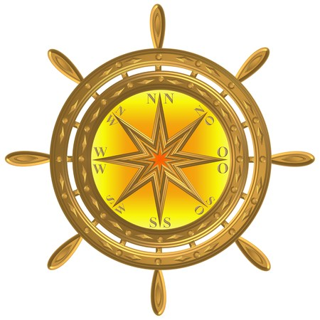 Golden globe compass anchor windrose steering wheel