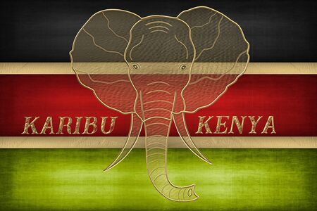 The flag of Kenya with golden elephant head Standard-Bild