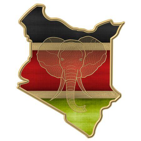 The flag of Kenya with golden elephant head Stockfoto