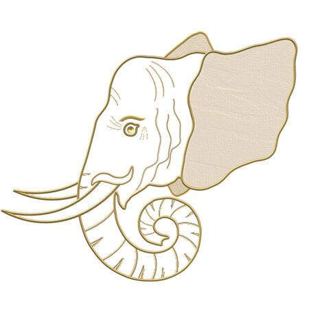 Drawing golden elephant head with tusk
