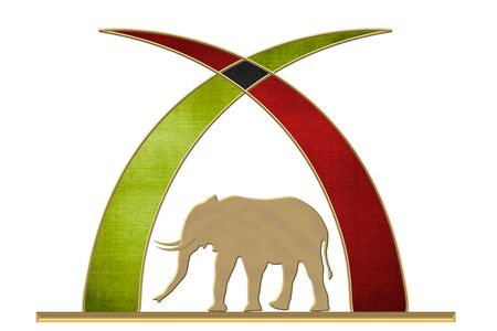 Ivory tusks with the colors of Kenya