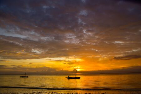Sunset and sunsets on the beach in Kenya Archivio Fotografico