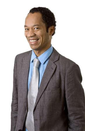 Attraktive Mann im Anzug Portrait isoliert auf weiss