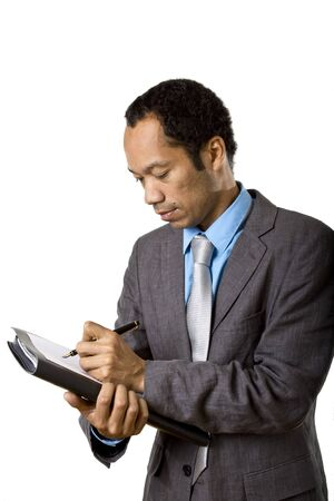 notieren: Colored business with briefcase man writing note Stock Photo