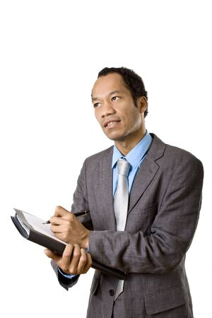 Colored business with briefcase man writing note photo