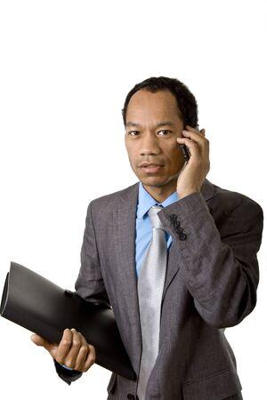 Afrikakarte american Business Mann mit Handy und Aktenkoffer