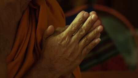 Monk fold hands and chanting Stockfoto - 133181955