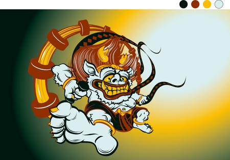 gods: gods of lightning thunder raijin (Japanese: the God of Thunder)