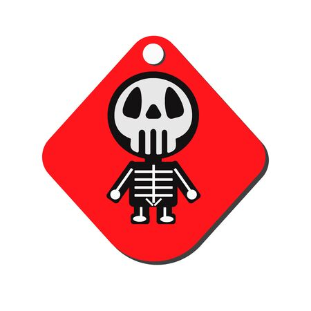 halloween background: Vector design for Halloween day. Skeleton isolated on red Label. Illustration