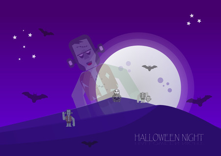 halloween background: Halloween night with zombies, skeleton, frankenstein and bats in full moon time. Vector Design.