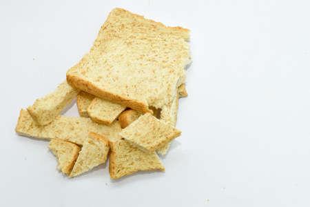 breackfast: Slice of bread on white background. Breackfast food. Stock Photo