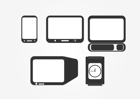 lcd display: Different type of electronic equipments with screen display such as phone, computer and television. Vector Design.