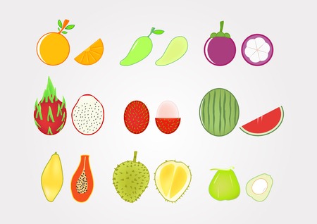 Fruits with fruit pulp on gradient grey background, Healthy drink for body, Icon vector design.