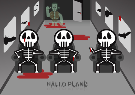 Skeleton sit on chair in an airplane room. Frankenstein behind the room with bats outside the plane. Halloween scene. Illustration