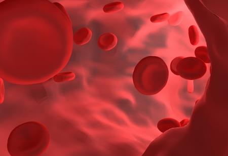 Les globules rouges dans les vaisseaux sanguins pour les études de biologie. Rendu 3D.