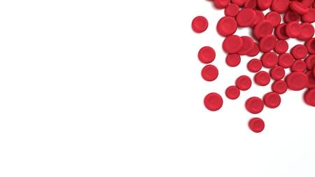 Grupo de glóbulos rojos aislados sobre fondo blanco. Representación 3D. Foto de archivo - 85115702