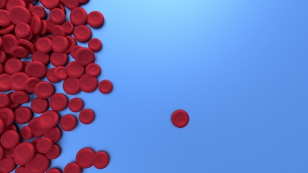 Red blood cell on glossy blue background. 3D rendering.