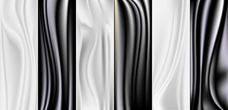 Abstract black and white satin background. Creased cloth for fashion.