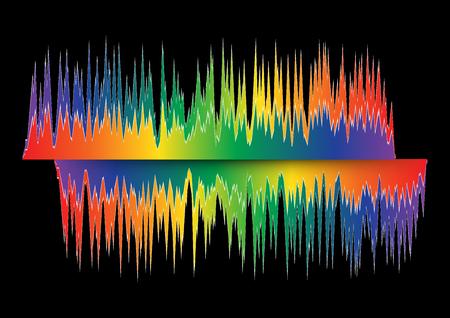 Abstracte kleurrijke golf die op zwarte achtergrond wordt geïsoleerd. Speciale effecten van equalize.