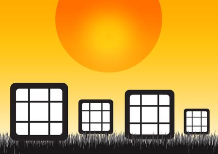 Pannelli solari con l'erba di prato nel tempo di alba. Archivio Fotografico - 92687603
