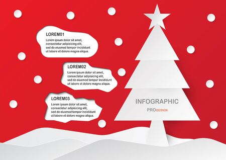 White and grey Infographic design on red background for Merry Christmas with texts pace, tree, star and snow. Illustration