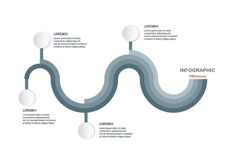 Abstrakte infographic Elemente in der Sinuswellenform. Diagramme für Geschäftsdarstellung, Schablone, Netzfahne und Bewegungsgraphik mit Raum für Text.