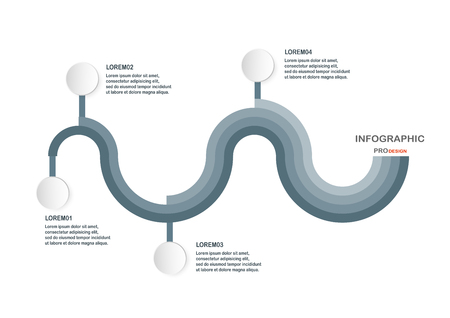 Abstract infographic elements in sine wave shape. Charts for business presentation, template, web banner and motion graphic with space for text.