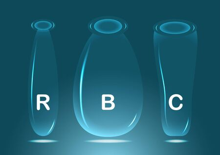 Glassware for experiment in laboratory on blue background.