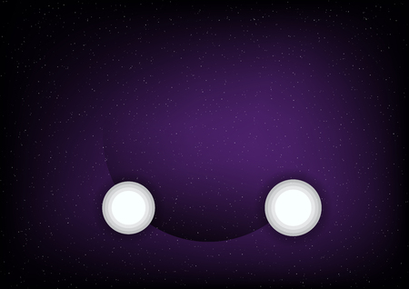 Flat moon on purple space background with star. Abstract science template.