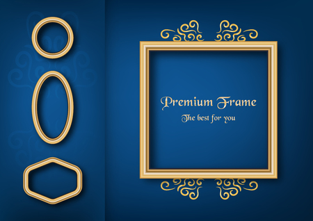 Golden classic frame on blue gradient background.