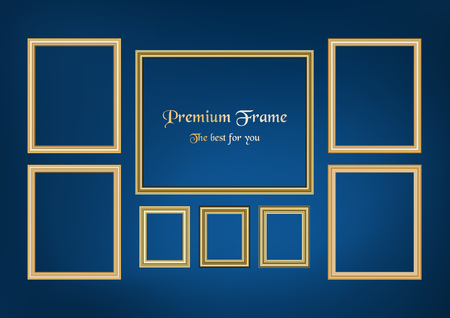 Set of decorative frame picture with gold border, Vector design on blue background with copy space in premium concept. Иллюстрация