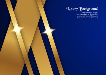 Abstracte blauwe achtergrond in premium concept met gouden rand. Sjabloonontwerp voor omslag, bedrijfspresentatie, webbanner, huwelijksuitnodiging en luxe verpakking.