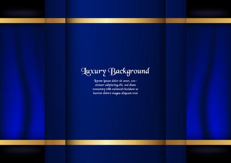 Abstrait bleu dans le concept premium avec bordure dorée. Conception de modèle pour la couverture, la présentation d'entreprise, la bannière Web, l'invitation de mariage et l'emballage de luxe.
