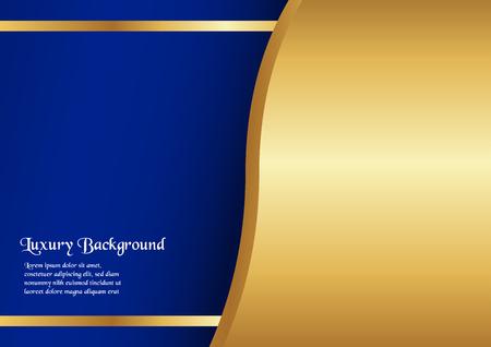 Abstracte blauwe achtergrond in premium concept met gouden rand. Sjabloonontwerp voor omslag, bedrijfspresentatie, webbanner, huwelijksuitnodiging en luxe verpakking. Vector Illustratie