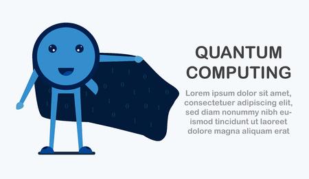 Diseño de personajes en concepto de Computación Cuántica. Ilustración de vector sobre tecnología futura del sistema informático para banner web, creador de mascotas, portada y plantilla.